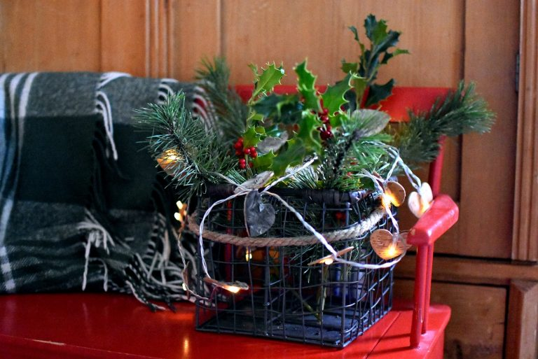 Christmas Greenery Basket ThreeSonslater.com